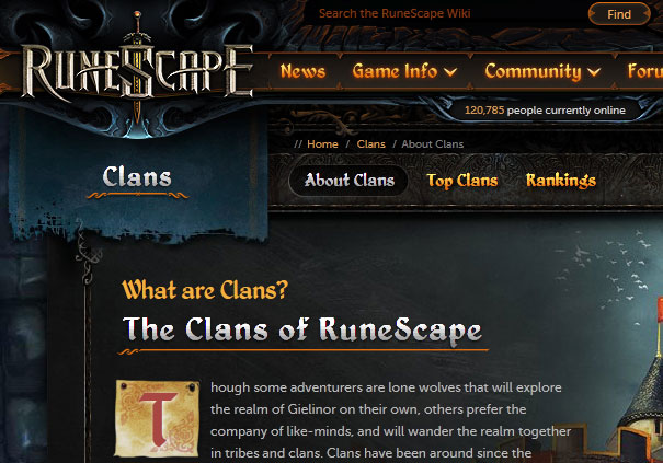 Screenshot of RuneScape gradient text